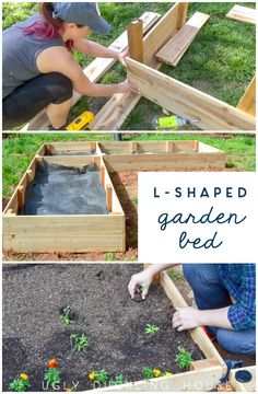 My vegetable seedlings popped up quickly this spring which meant I needed a garden bed FAST! Check out how I made this cheap & easy L-shaped raised garden bed out of cedar fence pickets. In just a few hours I had a vegetable garden ready for growing! Building A Raised Garden, Raised Garden Beds, Raised Beds, Raised Gardens, Organic Gardening, Gardening Tips, Kitchen Gardening, Gardening Books, Flower Gardening