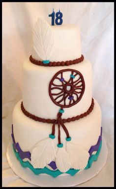 Dream catcher cake hipster style feathers and dream catcher