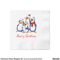 Christmas Paper Napkins-Merry Penguins