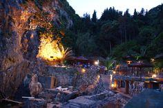 "La Grotta Beach Bar, Paleokastritsa, Corfu Island, Greece. James Bond ""For Your Eyes Only"" was filmed here ✯ ωнιмѕу ѕαη∂у"