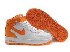 Pas cher France Nike Air Force 1 Mid Pour Homme Baskets Blanc Orange White  Sneakers, f0ce078d361e