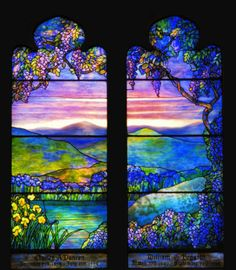 Louis Comfort Tiffany stained glass window, circa 1920 *( name of artwork & location ? Tiffany Stained Glass, Tiffany Glass, Stained Glass Art, Stained Glass Windows, Louis Comfort Tiffany, Window Clings, Window Art, Window Glass, Window Coverings