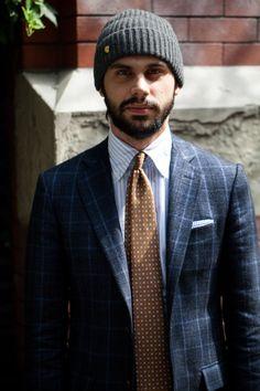 Patrick Doss beanie beard menswear tie brown