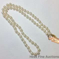 Blue Lagoon Mikimoto 14k Gold Akoya Cultured Pearl Necklace 6-6.5mm  #Mikimoto #StrandString