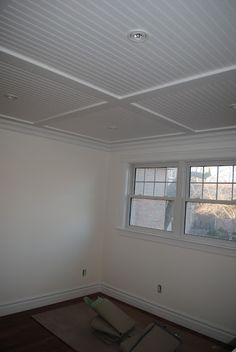 Beadboard ceiling - maybe for the basement basement bedrooms Inexpensive Basement Ceiling Ideas Small Basements, Low Ceiling, Basement Decor, Basement Ceiling Options, Basement Remodeling, Home Remodeling, Remodel Bedroom, Waterproofing Basement, Dropped Ceiling