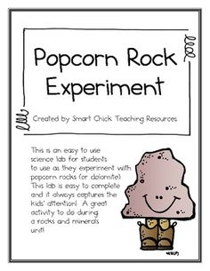 """A FREE two page lab to use with growing crystals on a piece of dolomite.  These are often referred to as """"popcorn rocks"""".  Just place the piece of dolomite into a bowl of white vinegar and wait for the crystals to grow!  A great lab to use during a rocks and minerals unit!"""