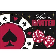 Casino Party - 8 Einladungskarten