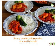 Saucy tomato chicken with rice and broccoli