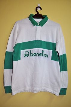 ac0a889f28f RARE 90s Vintage UNITED COLORS OF BENETTON Green RUGBY Polo Shirt Size  Medium Rugby Shirts,