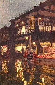 Hiroshi Yoshida (吉田 博 Yoshida Hiroshi, September 1876 - April was a Japanese painter and woodblock print maker. Japanese Art Prints, Japanese Artwork, Japanese Painting, Japan Illustration, Hiroshi Yoshida, Hokusai, Art Asiatique, Art Japonais, Landscape Prints