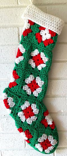 Granny Square Stocking on Best Free Crochet - part of a great roundup of free stocking patterns on mooglyblog.com