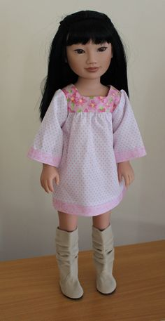 Pink & White Smock dress Dolls clothes to fit by SweetSewnups