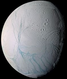 ENCELADUS Enceladus, one of Saturn's moons. A new study published online Wednesday, March 11, 2015, in the journal Nature, suggests there are ongoing interactions between hot water and rocks beneath the surface of the icy moon. - © NASA/AP Photo