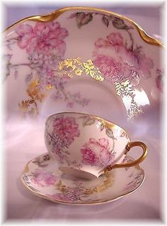 Limoges France Cup and Saucer Big Pink Roses Lilacs Fancy Gold A