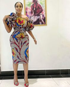 Well Detailed One Sided Off Shoulder Gown African Wear Dresses, African Attire, African Outfits, Ankara Short Gown Styles, Short Gowns, African Print Fashion, African Prints, Ankara Dress, Lovely Dresses