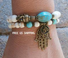 Inner Calm Turquoise & Howlite Buddha Bracelet set with Om and Hamsa hand and Buddha, Reiki, free shipping