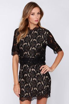 If you've got a sweet tooth for all things black and lace, then the Floral Fixation Black Lace Dress is perfect for you! Covered in large lace flowers and scalloped hems, this woven black dress has all the essentials for the perfect cocktail dress. Sheer sleeves and a rounded neckline decorate the bodice that ends with an eyelash lace trimmed tier. The butterfly-style back shows off the beige lining under a double button closure, adding a layered style above the fitted lace skirt. Hidden ...