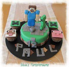Silvia's Tortenträume: Minecraft Torte Cake Fondant Anleitung Tutorial Steve Creeper Muffins Muffinaufleger Kuchen