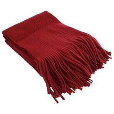 Wine Red Vintage Soft Fringed Knitted Shawl Scarf (42 PLN) ❤ liked on Polyvore featuring accessories, scarves, shawl scarves, vintage shawl, fringe scarves, fringe shawl and red scarves