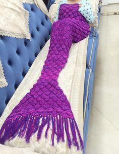 Fish Scale Mermaid Tail Crochet Fringed Blanket