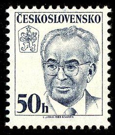 Stamp: Gustav Husák (1913-1991), president (Czechoslovakia) (President Gustav Husák) Mi:CS 2698,Sn:CS 2443,Yt:CS 2518,Sg:CS 2661,AFA:CS 2544,POF:CS 2574 Postage Stamp Collection, Retro 2, Vintage Stamps, Stamp Collecting, Czech Republic, Art, Seals, Palm Plants, World