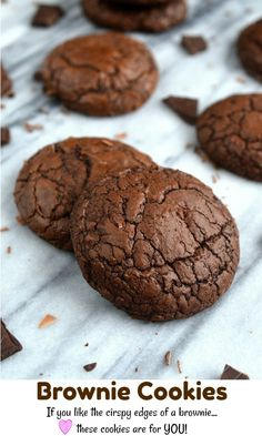 Ever wanted the chewy, fudgy gloriousness of brownies in cookie form? These insanely delicious one-bowl brownie cookies are amazing and completely irresistible! Yummy Recipes, Easy Cookie Recipes, Cookie Desserts, Baking Recipes, Delicious Desserts, Dessert Recipes, Easiest Cookie Recipe, Cookie Favors, Recipies