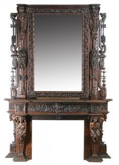 Monumental 19th Century Italian Renaissance Revival Carved Walnut Mantle And Overmantle, Pierce Carved And Relief Carved With Clusters Of Fruit And Scrolling Foliage With Fully Formed Female Caryatids Flanking The Firebox