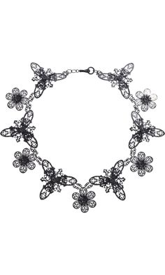 Bottega Veneta Blackened Silver Floral Filigree Necklace