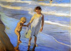 Valencia Two LIttle Girls on a Beach | Joaquin Sorolla y Bastida | oil painting