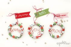 Rolled paper wreaths - Pebbles, Inc. Rolled Paper Wreath, Paper Wreaths, We R Memory Keepers, Paper Strips, Merry Little Christmas, Cute Pattern, Hello Everyone, Tree Decorations, Crafts To Make
