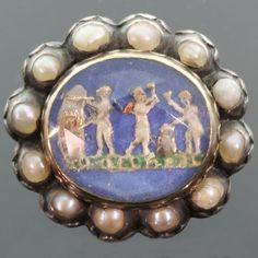Rare enameled antique Stuart Crystal slide brooch
