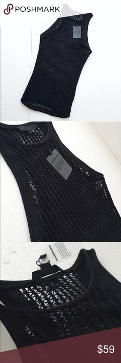 """Alexander Wang Open Weave Knit Racerback Pending Bundle-Alexander Wang Open-Weave Knit High-Neck Racerback. From 2011 Collection. Rolled edges at arms/neck. 100%Cotton. Authentic. Straight lightly ribbed hemline. Form Fitted & stretchy. Sheer. True Black. Top back to hem: 27"""". Bust: 24.5"""". *Very small area@ center back top (directly under label), where Knit was repaired. See#4. Brightness adjusted to show this flaw best. Won't see while worn because it's directly hidden by label! No other…"""