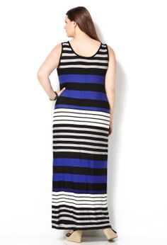 Short Sleeve Mixed Stripe Maxi Dress Plus Size Dress Avenue