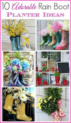 Cute curb appeal idea! Repurpose old or out grown rubber boots into planters with real or fake plants. | 10 adorable rain boot planter ideas