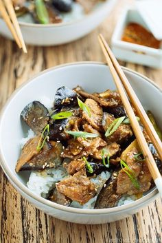 Miso Pork and Eggplant Stir Fry Over Steamed Rice. Simple and easy weeknight dinner! Japanese Eggplant Recipes, Easy Japanese Recipes, Japanese Dishes, Japanese Food, Stir Fry Recipes, Pork Recipes, Asian Recipes, Cooking Recipes, Ethnic Recipes