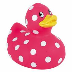 pink polka dot rubber duck