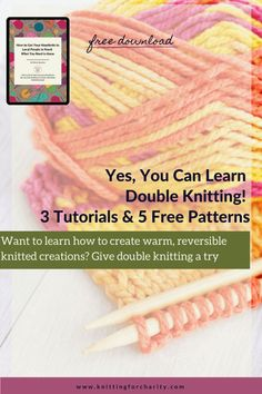 Want to learn how to create warm, reversible knitted creations? Give double knitting a try ... Read More about  Yes, You Can Learn Double Knitting! 3 Tutorials Knitting Help, Knitting For Charity, Knitting Yarn, Love Knitting Patterns, Knitting Projects, Knitting Tutorials, How To Make Notes, Have Time
