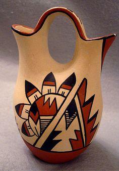 Yepa Jemez signed American Indian pottery Wedding Vase
