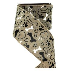 Linen dog ribbon with black and white paw prints, dog bones and hearts, x 50 yard roll, natural color, wired Wreath Supplies, Craft Supplies, Diy Wreath, Wreaths, 50 Yards, Dog Rooms, Wired Ribbon, Blue Bird, Bones