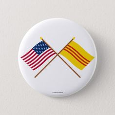 Shop US and South Vietnam Crossed Flags Pinback Button created by Vexillophile. Vietnam Flag, South Vietnam, Cross Flag, Political Events, National Flag, Custom Buttons, Text You, Flags, Colorful Backgrounds