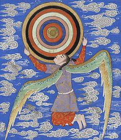 'The angel Ruh holding the celestial spheres'- Page from manuscript of Zakariya ibn Muhammad al-Qazwini 's The Wonders of Creation & Oddities of Existence (Arabic: 'Aja'ib al-makhluqat wa-ghara'ib al-mawjudat) - Western Iran, c. Celestial Sphere, Art Antique, Iranian Art, Spiritus, Medieval Art, Sacred Art, Illuminated Manuscript, Ancient Art, Islamic Art
