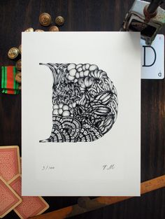 Illustrated Typography - Art Print // D for Diatom