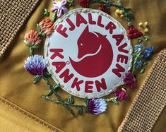 Fjallraven - Kanken Classic Backpack with Floral hand embroidery - Embroideried Kanken!