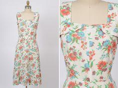 1940s dress/ 40s floral sundress/ flour sack by shopKLAD on Etsy