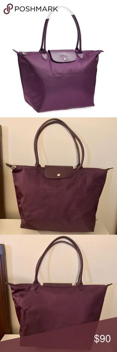 👜Longchamp Large Le Pliage Neo Tote Purple Upgraded version of Longchamp's Le Pliage Tote. This purple Le Pliage Neo Tote is light and large, ideal for everyday work/school and travel! I used this for school and I absolutely love it! It has very little almost not recognizable wear and tear on the bottom. The functionality is unbeatable! See last 2 pics for actual size and more details. Longchamp Bags Totes