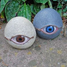 eyeball stone garden ornaments.  Interesting and kind of creepy :)