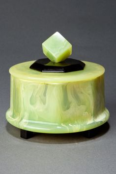 Art Deco Catalin Powder Box - Octagon shaped pistachio green with white and clear swirls and black accents