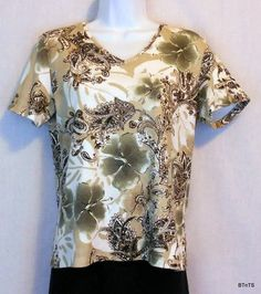 Karen Scott Knit Top Women's Size S Cotton Print