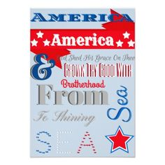 """Patrotic 4th Of July Invitation 3.5"""" X 5"""" Invitation Card Announce your holiday BBQ, party or get-together with this patriotic invitation decked out with the All-American red, white and blue! Customize the back with your own information. #july #bbq #invitations holiday..."""