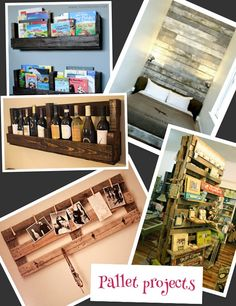 Pallets projects !!  Love bottom left!!!!